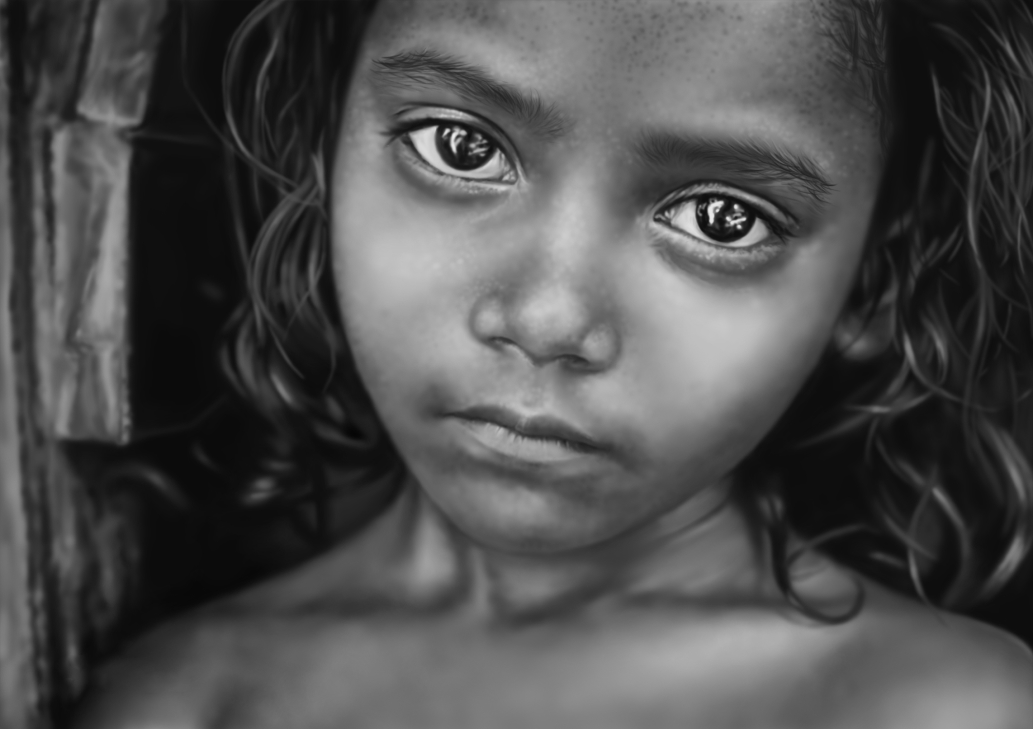 2D Young Girl Black and White Pencil Illustration