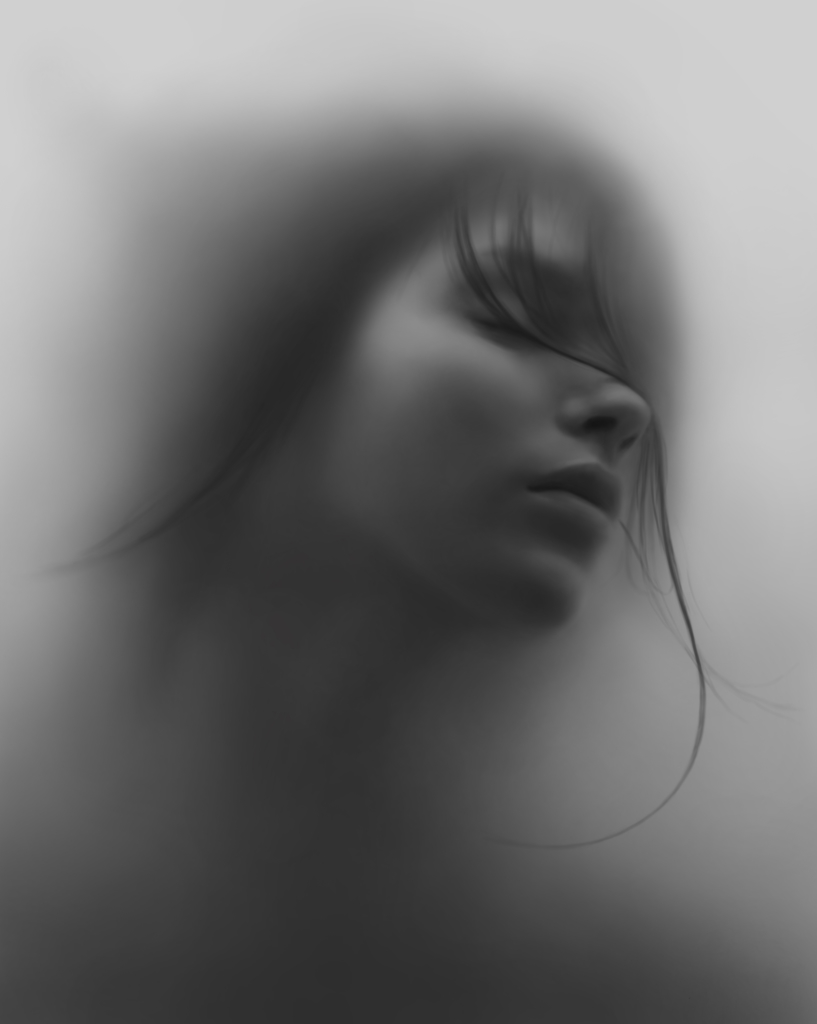 2D Young Woman Behind Glass Black and White Pencil Illustration