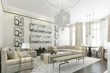 3D Modern Contemporary Living Room Interior Illustration