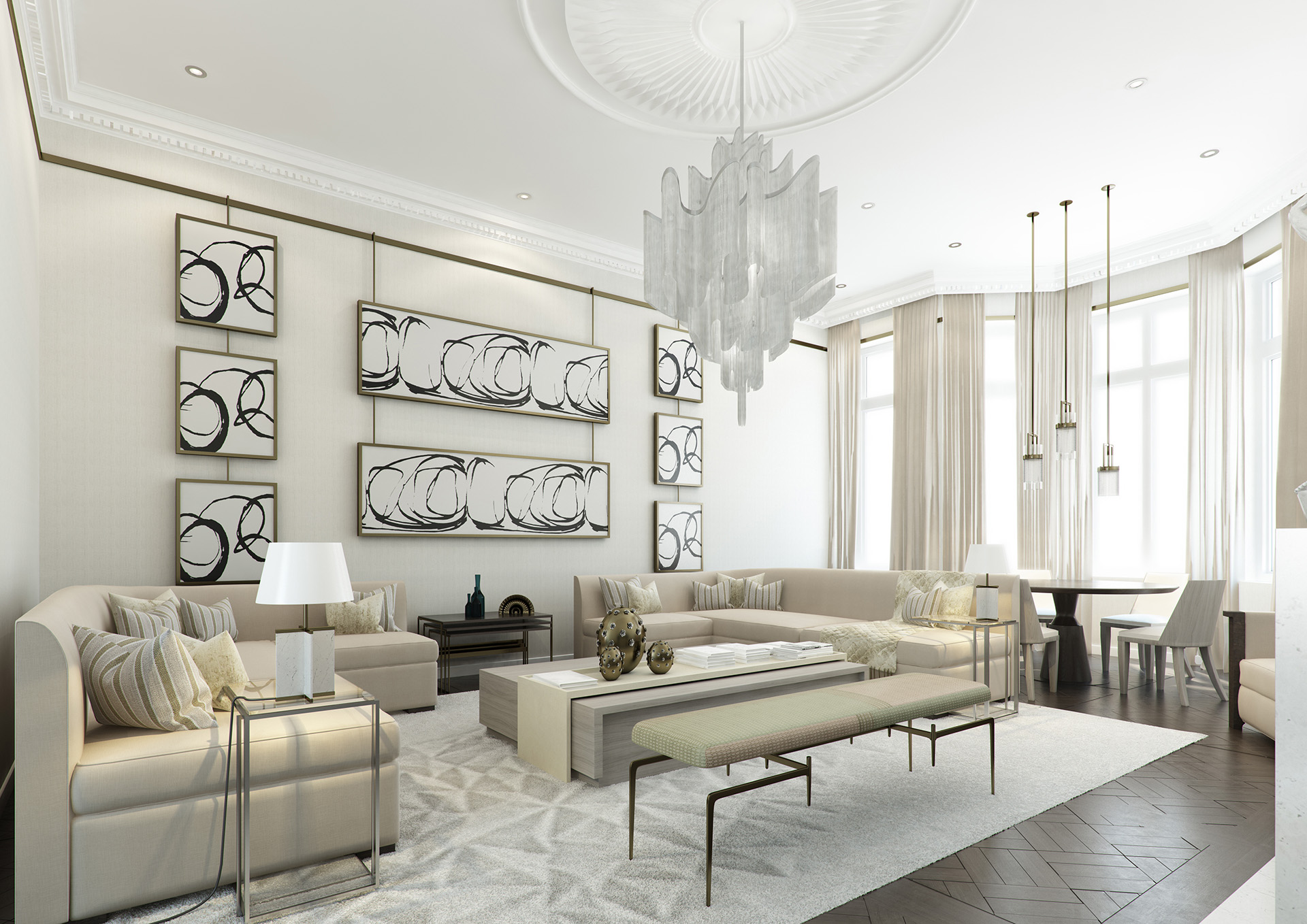 3D Modern Contemporary Living Room Interior Illustration