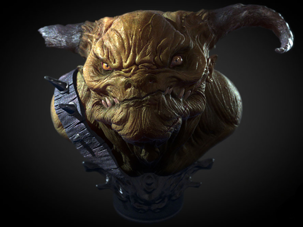 3D Orc Head Bust Character Illustration