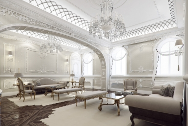 3D Rome Luxury Apartment Living Room Interior Illustration