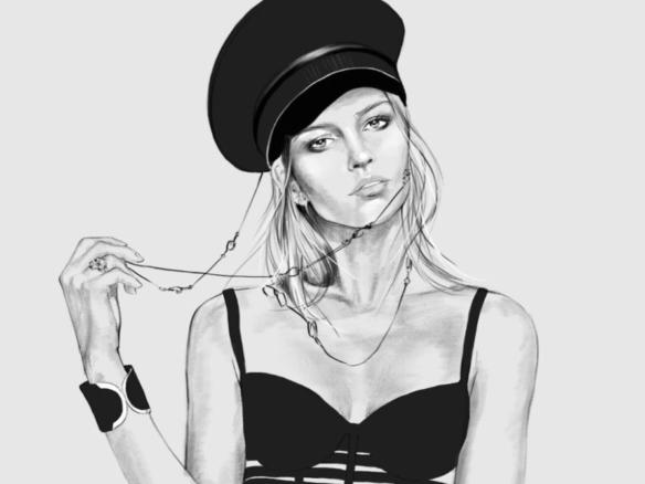 2D Black and White Female Fashion Model Illustration