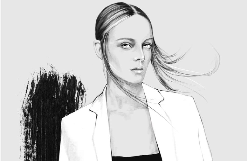 2D Black and White Stylish Fashion Model Illustration