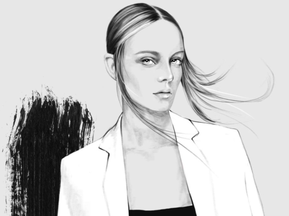 2D Black and White Stylish Fashion Model Illustration