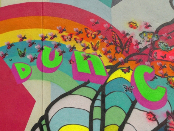 2D Colourful Spray Painted Butterfly Graffiti Mural