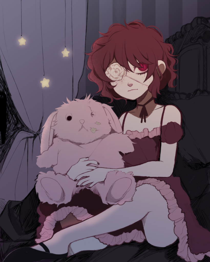 2D Creepy Anime Girl Character Illustration
