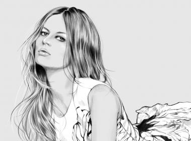 2D Designer Dress Model Fashion Illustration