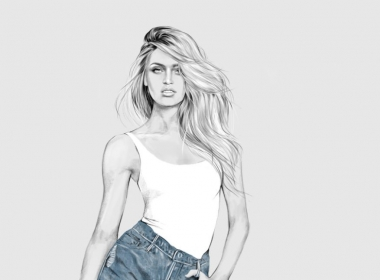 2D Female Casual Denim Short Fashion Illustration Featured
