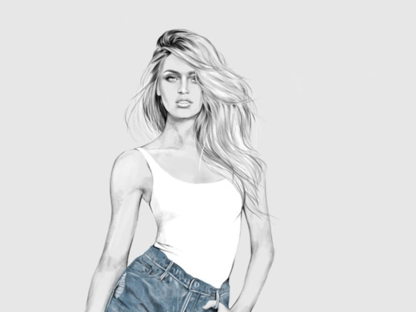 2D Female Casual Denim Short Fashion Illustration Featured