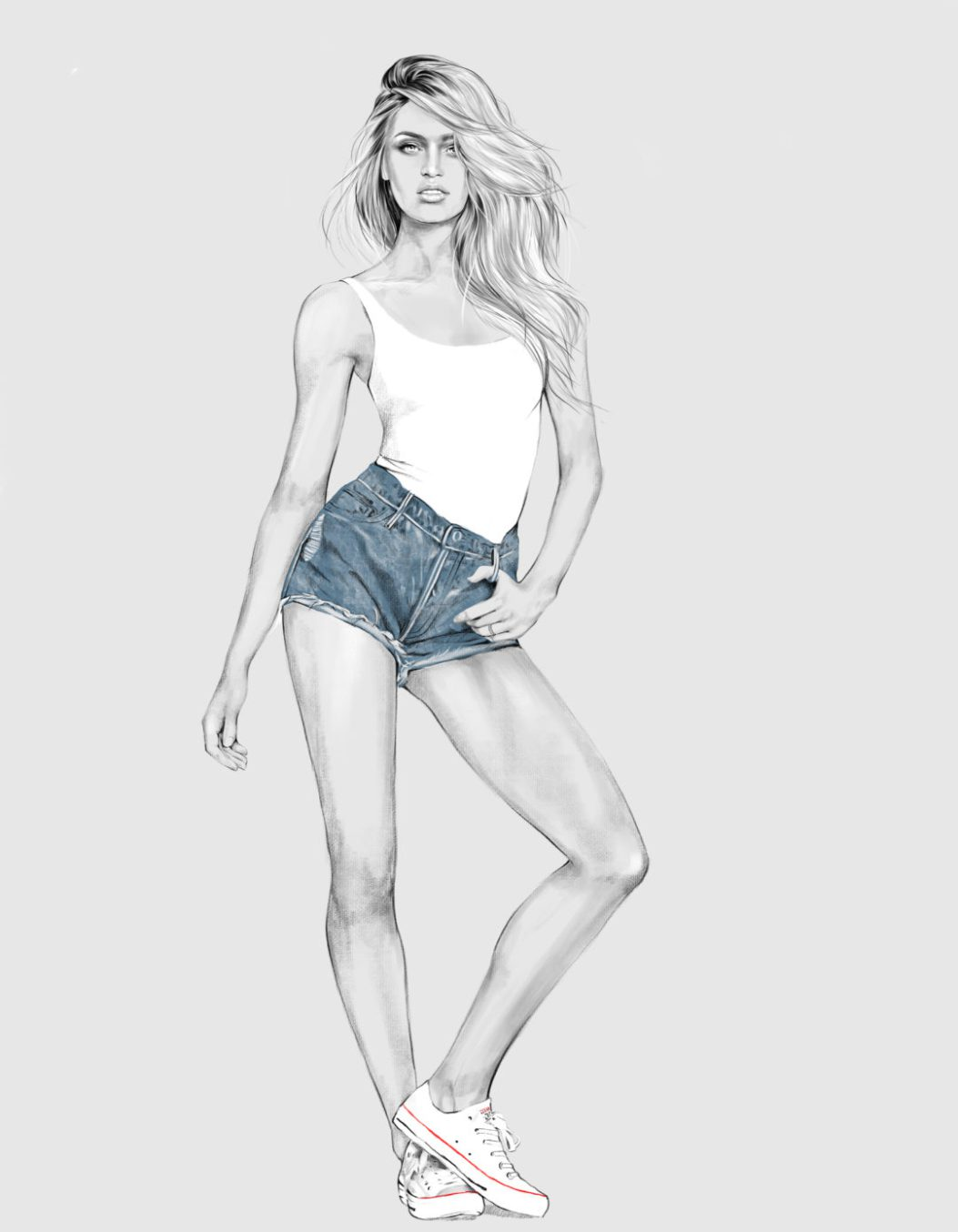 2D Female Casual Denim Short Fashion Illustration