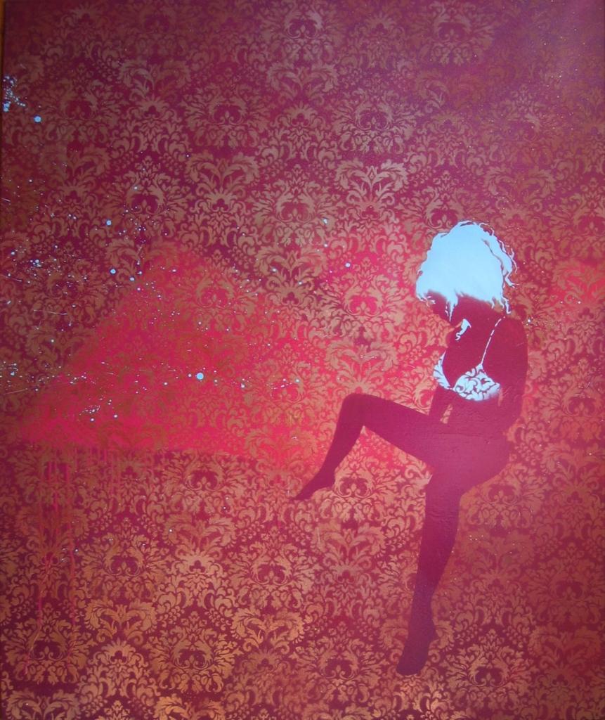 2D Female Underwear Model Graffiti Stencil Painted on Retro Wallpaper