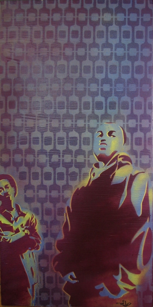 2D Gangster Graffiti Stencil Painted On Retro Wallpaper