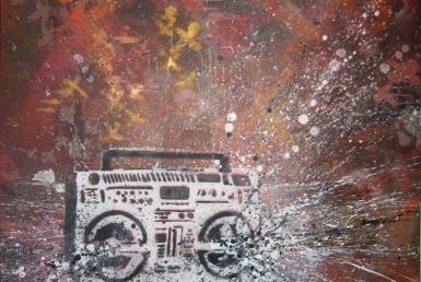 2D Graffiti Boom Box Stencil With Boom Effect