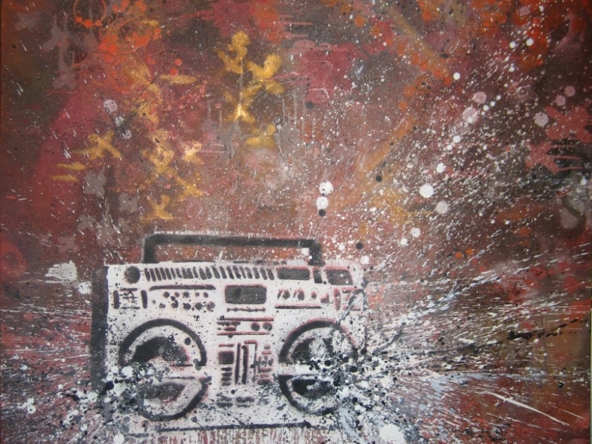2D Graffiti Boom Box Stencil With Boom Effect
