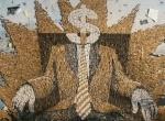 2D Financial Business Man Graffiti Mural For Anti Smoking Campaign
