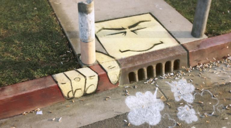 2D Graffiti Street Art For Anti Somking Campaign