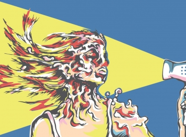 2D Graphic Graffiti Style Hairdrying Face Melting Illustration