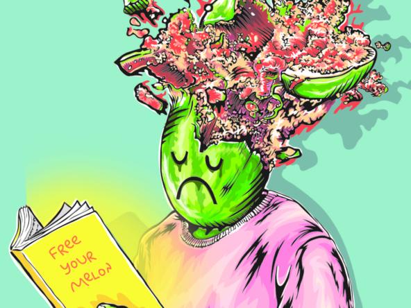 2D Graphic Graffiti Style Melon Head Illustration