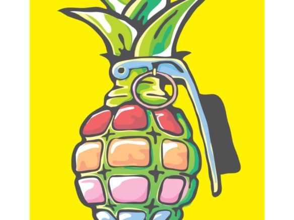 2D Graphic Graffiti Style Pineapple Grenade Illustration