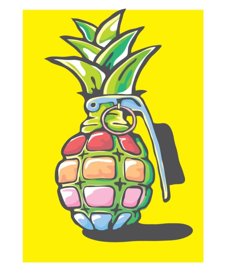 2D Graphic Graffiti Style Pineapple Grenade Illustration