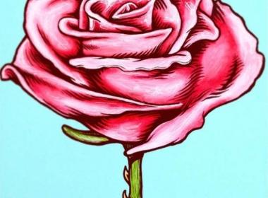 2D Graphic Graffiti Style Rose Flower Illustration
