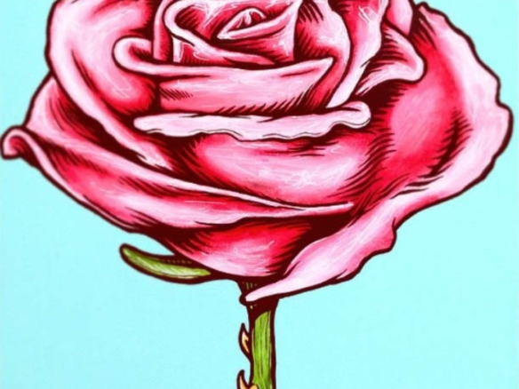 2D Graphic Graffiti Style Rose Flower Illustration