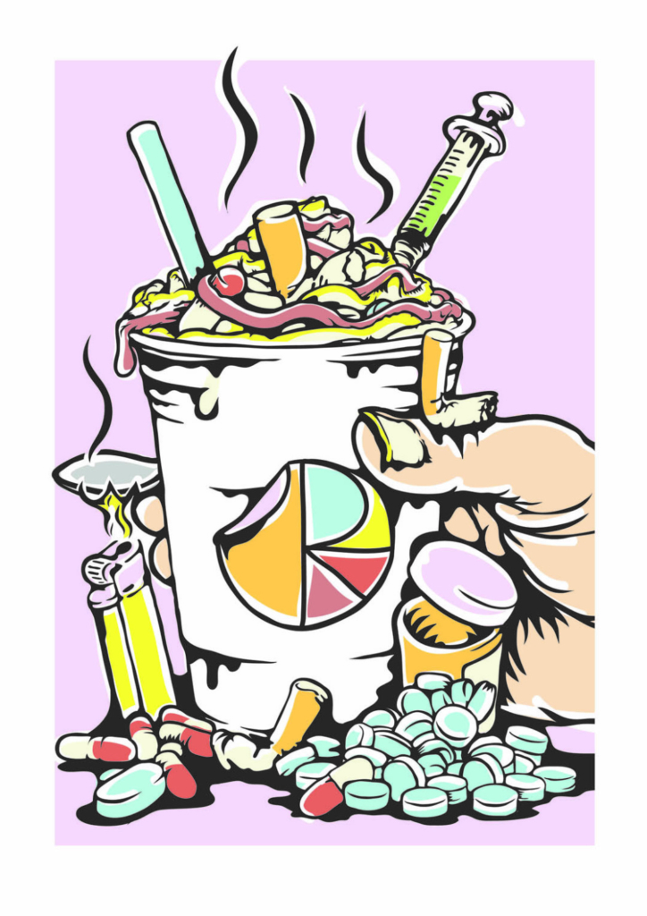 2D Graphic Graffiti Style Lethal Drugs Cocktail Illustration
