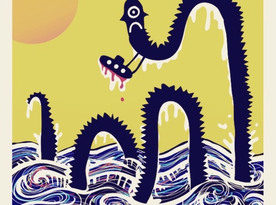 2D Graphic Sea Monster Digital Illustration