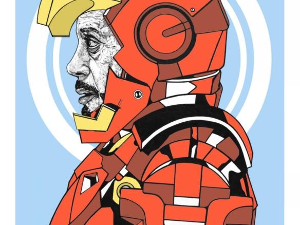 2D Iron Man Superhero Character Graphic Digital Illustration