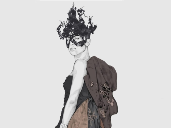 2D Masked Ball Female Fashion Illustration Featured Image