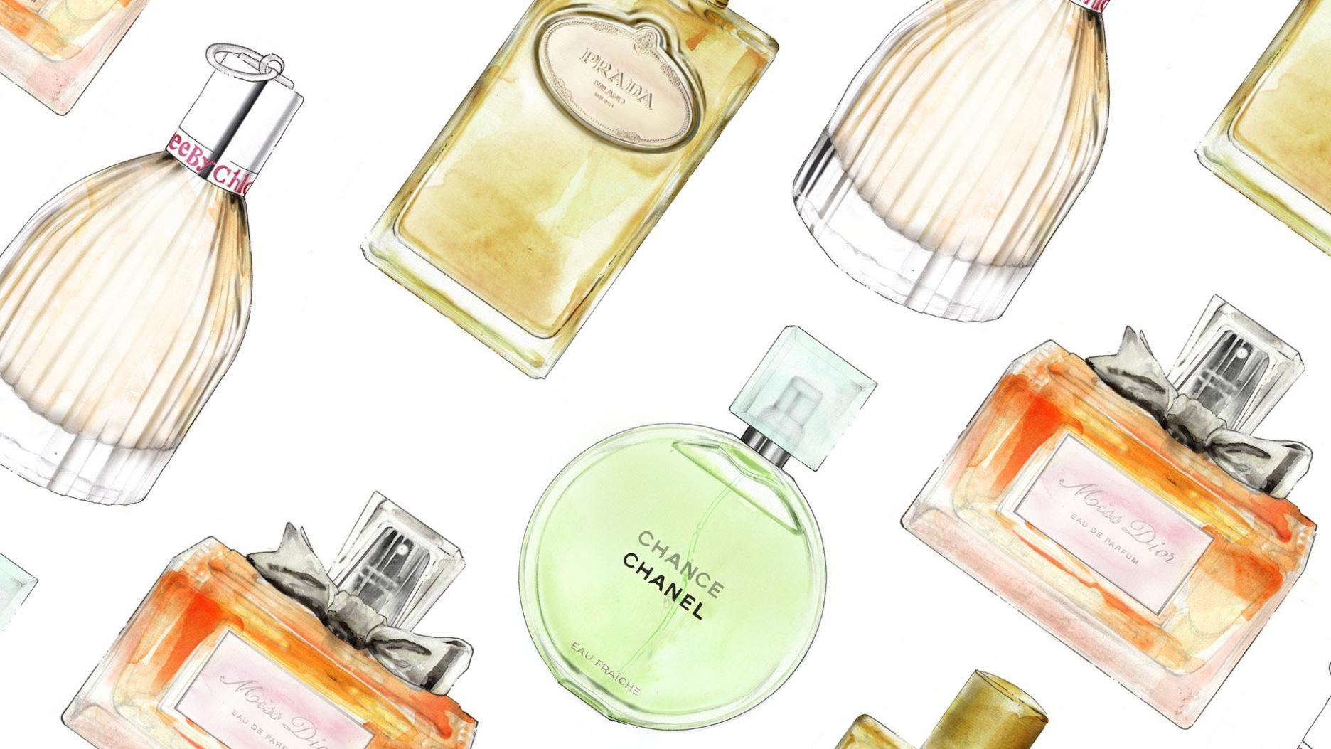 2D Perfume Bottles Beauty Product Illustration