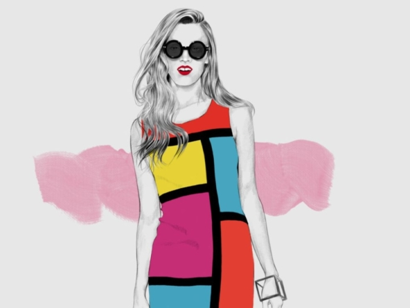 2D Pop Art Dress Fashion illustration