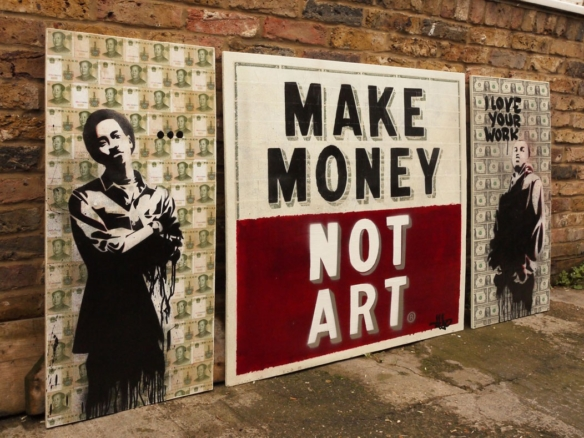 2D Spray Painted Banknotes Triptych Graffiti Mural