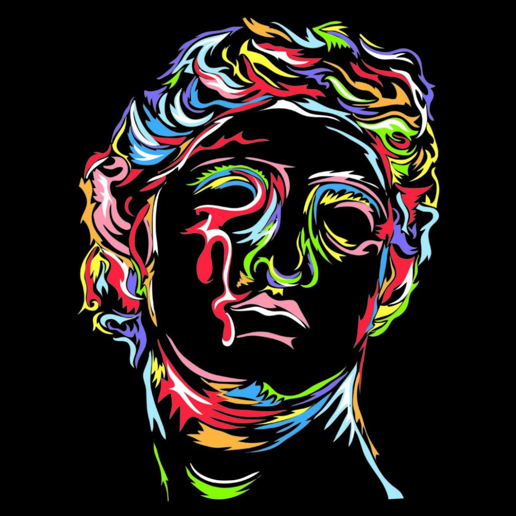 2D Wacom Rainbow Head Portrait Graphic Illustration