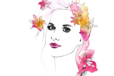 2D Floral Beauty Model Fashion Illustration