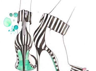 2D Stripe High Heel Shoes Fashion Illustration