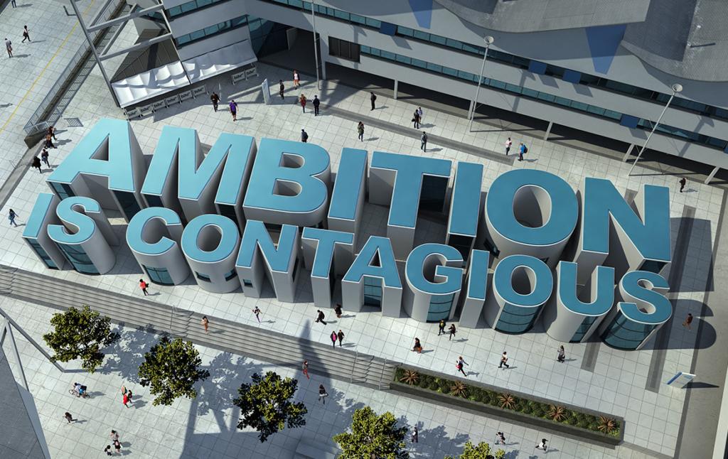 3D Ambition is Contagious Building Illustration Thumbnail