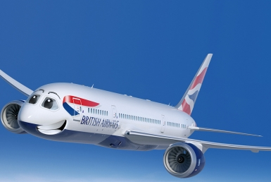 3D British Airways Plane Character Illustration Thumbnail
