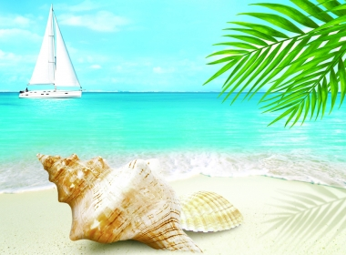 3D Caribbean Landscape Illustration Thumbnail
