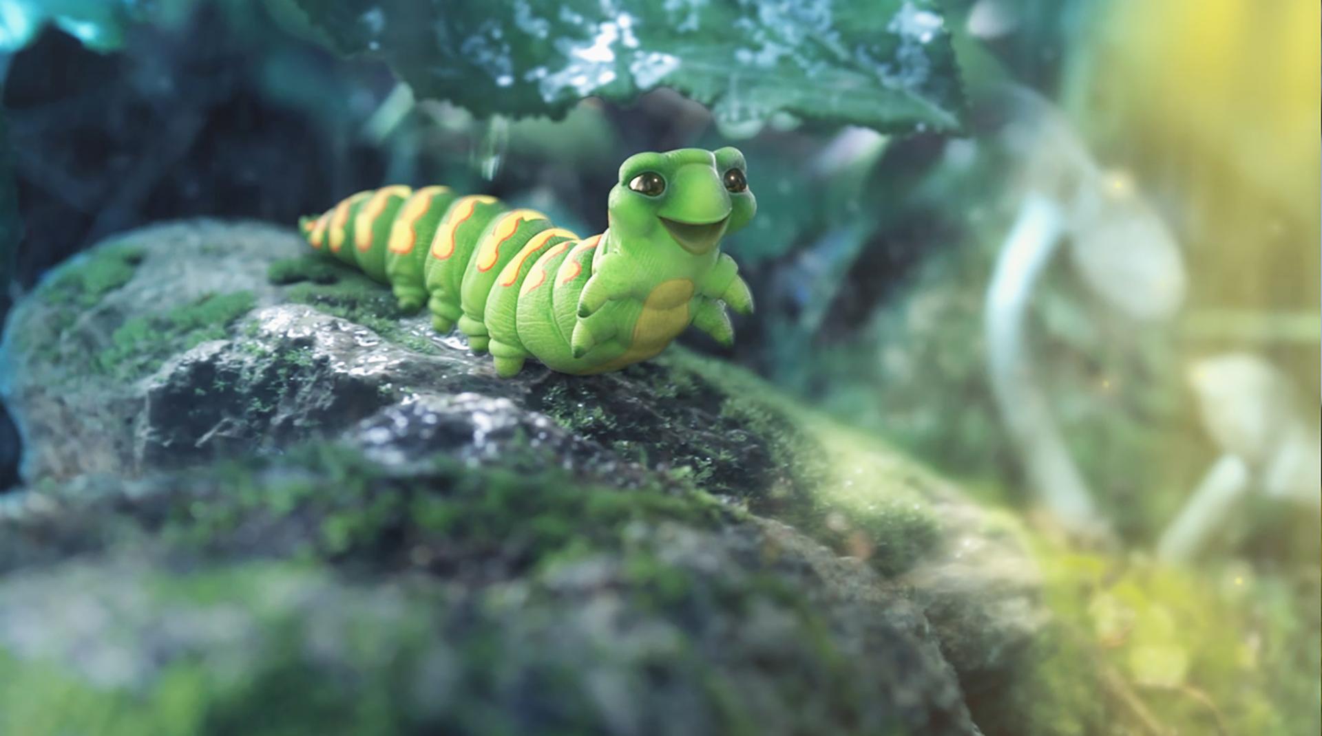 3D Catterpillar Character Illustration