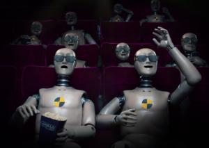 3D Cinema Crash Test Dummy Glasses Character CGI Illustration