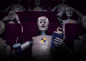 3D Cinema Crash Test Dummy Shocked Character Illustration