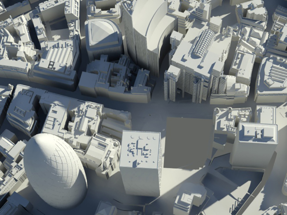 3D City of London Greyscale Illustration Thumbnail