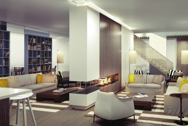 3D Contemporary Living room Illustration Thumbnail