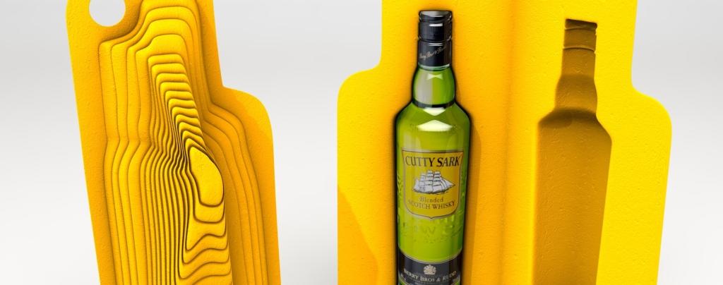 3D Cutty Sark Whisky Bottle Mock up Illustration Thumbnail
