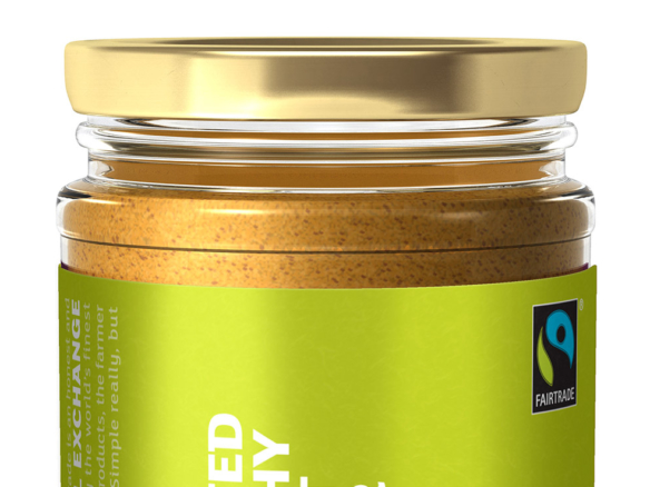 3D Fairtrade Food Unsalted Crunchy Peanut Butter Glass Jar Product Illustration Thumbnail