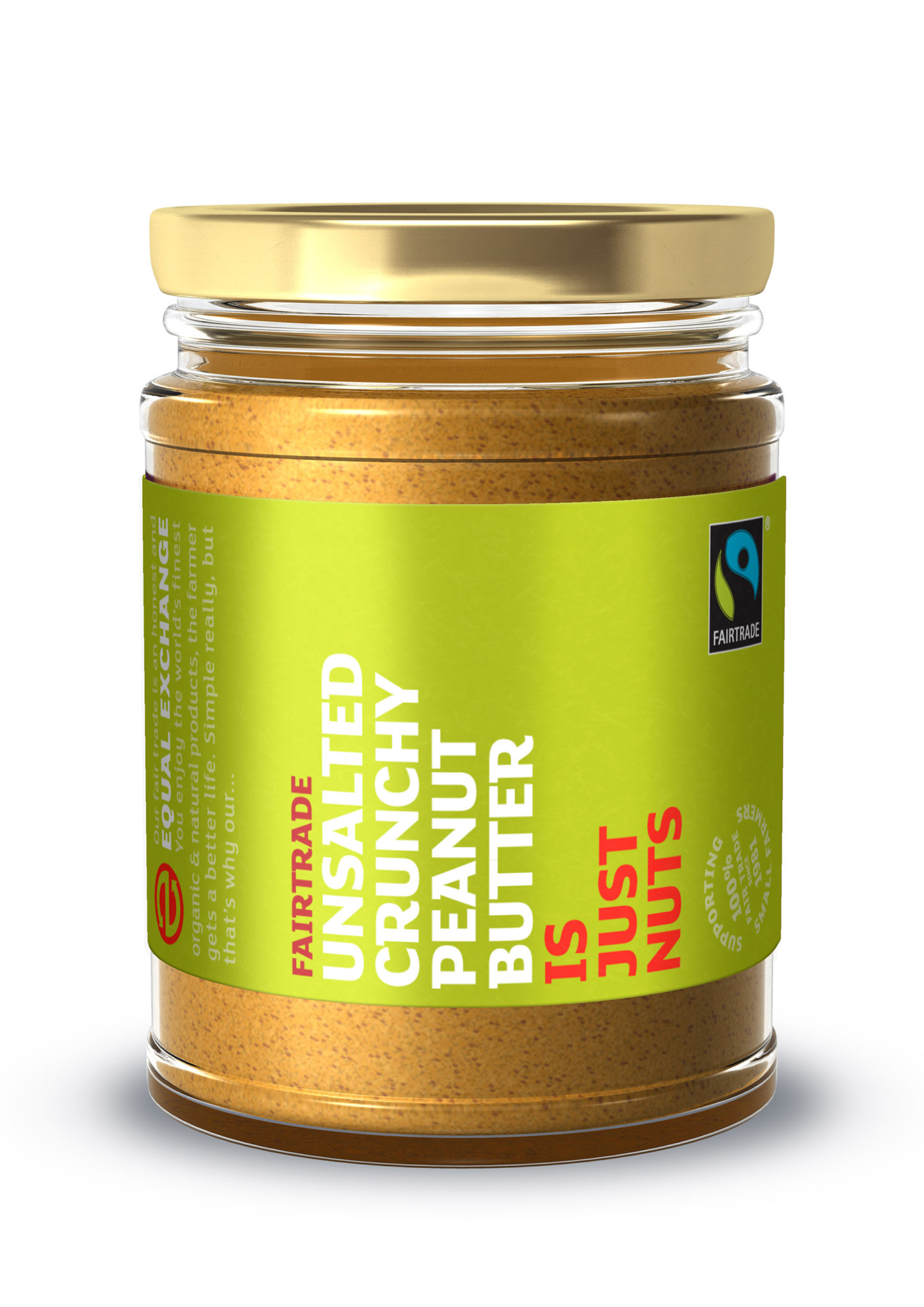 3D Fairtrade Food Unsalted Crunchy Peanut Butter Glass Jar Product Illustration
