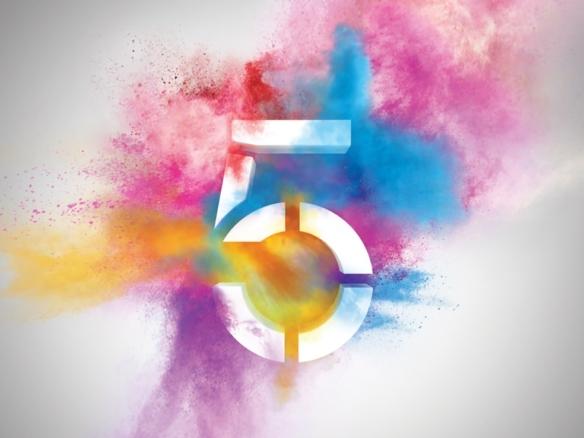 3D Channel Five Colour Paint Explosion Logo Illustration