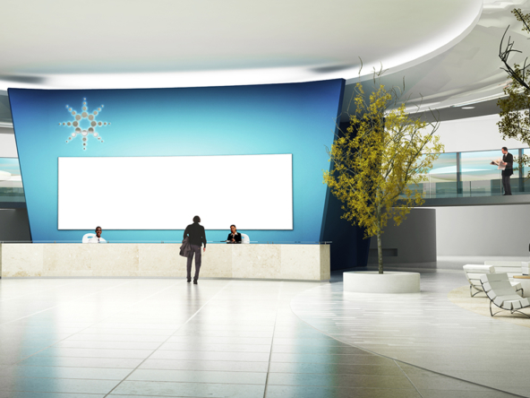 3D Futuristic Corporate Building Reception Lobby Illustration Thumbnail